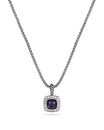 David Yurman - Petite Albion Pendant with Black Orchid & Diamonds on Chain