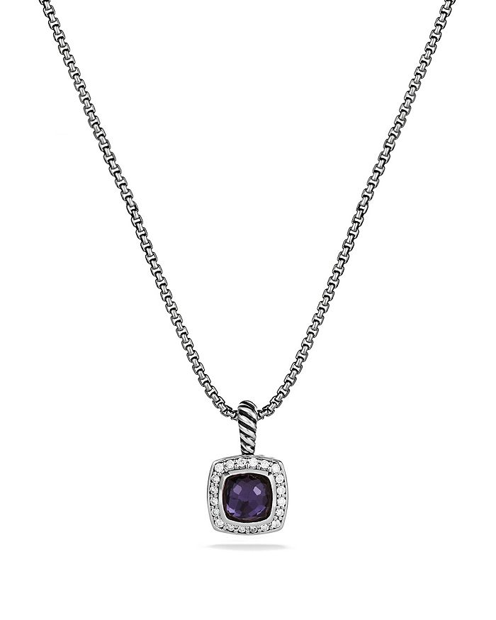 David Yurman PETITE ALBION PENDANT WITH BLACK ORCHID & DIAMONDS ON CHAIN