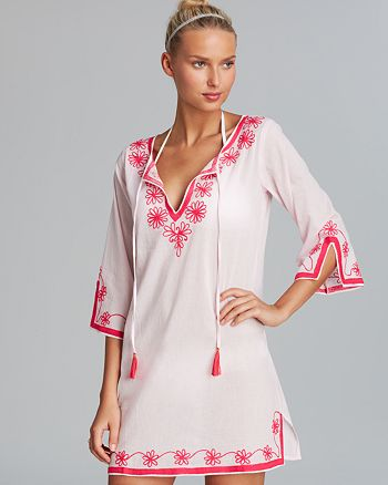 ab56d1468a9 Debbie Katz Serena Embroidered Cotton Tunic Swim Cover-Up ...
