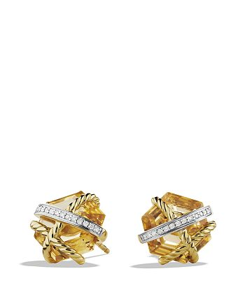 David Yurman - Cable Wrap Earrings with Champagne Citrine and Diamonds in Gold