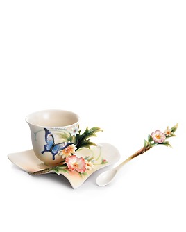 Franz Collection - Franz Collection Fluttering Beauty Flower and Butterfly Cup & Saucer with Spoon