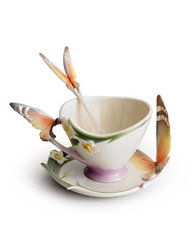 Franz Collection - Franz Collection Papillon Butterfly Cup & Saucer with Spoon