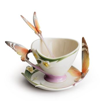 Franz Collection - Papillon Butterfly Cup & Saucer with Spoon