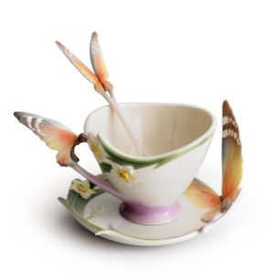 Franz Collection Papillon Butterfly Cup & Saucer with Spoon