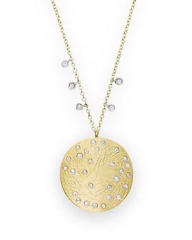 """Meira T - 14K Yellow & White Gold Large Disc Necklace, 16"""""""