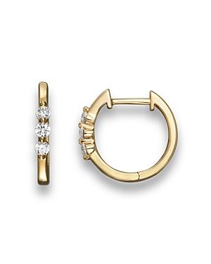 Diamond 3 Stone Huggie Hoop Earrings in 14K Yellow Gold, .24 ct. t.w. - 100% Exclusive