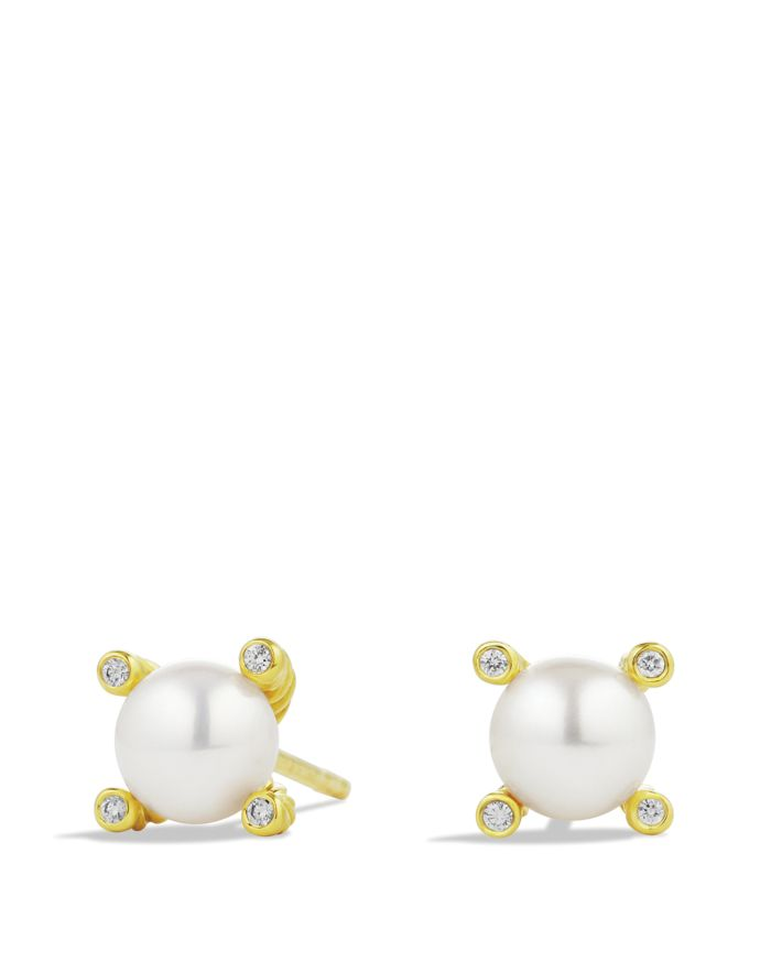 David Yurman Cable Earrings with Diamonds & Pearls in Gold, .03 ct. t.w.    Bloomingdale's