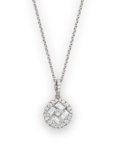 "Roberto Coin 18K White Gold Diamond Baguette Pendant Necklace, 15.5"" - Bloomingdale's_0"