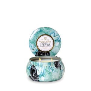 Voluspa Two Wick 11 oz. Metallo Candle, Linden & Dark Moss