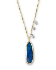 Meira T - 14K Yellow Gold Oval Blue Opal Necklace with Diamonds, 16""