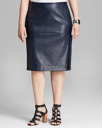 DKNYC Plus - Faux Leather Slit Pencil Skirt