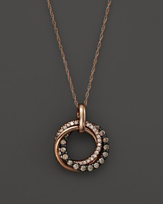 Brown and White Diamond Interlocking Circle Pendant Necklace in 14K Rose Gold, .50 ct. t.w. - 100% Exclusive - Bloomingdale's_0