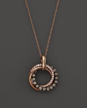 Brown and White Diamond Interlocking Circle Pendant Necklace in 14K Rose Gold, .50 ct. t.w. - 100% E