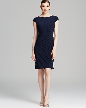 Adrianna Papell Dress - Cap Sleeve Seamed Net Jersey Inset