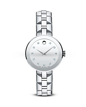 Movado - Movado Sapphire™ Stainless Steel Watch with Diamonds, 28mm