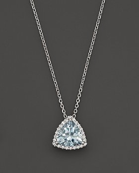 """Bloomingdale's - Aquamarine and Diamond Pendant Necklace in 14K White Gold, 16""""- 100% Exclusive"""