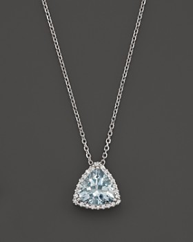 "Bloomingdale's - Aquamarine and Diamond Pendant Necklace in 14K White Gold, 16"" - 100% Exclusive"