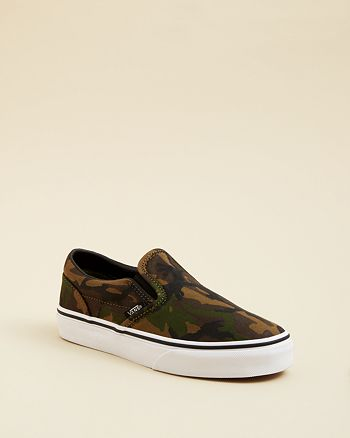 Vans Boys' Camo Classic Slip On Sneakers Toddler, Little