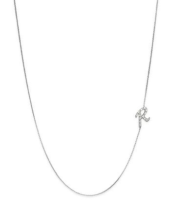 KC Designs - Diamond Side Initial R Necklace in 14K White Gold, .07 ct. t.w.