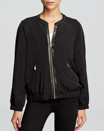 $Calvin Klein Faux Leather Trim Bomber Jacket - Bloomingdale's