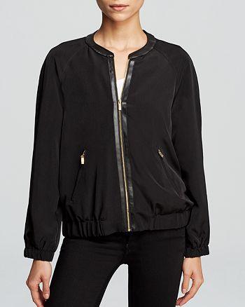 Calvin Klein - Faux Leather Trim Bomber Jacket