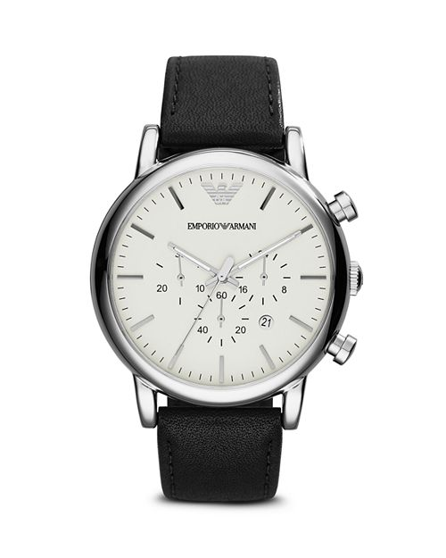 Emporio Armani - Three Hand Stainless Steel Watch, 43 mm