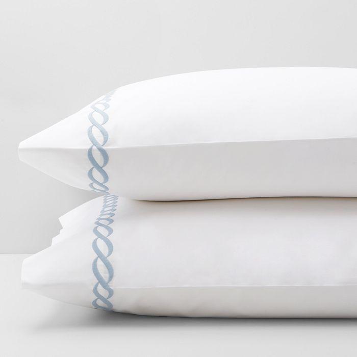 Matouk Classic Chain King Pillowcase, Pair In Blue