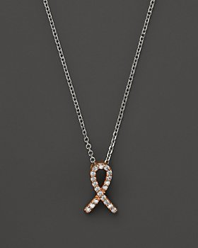 Bloomingdale's - Diamond Pink Ribbon Pendant Necklace in 14K Rose and White Gold, .10 ct. t.w. - 100% Exclusive