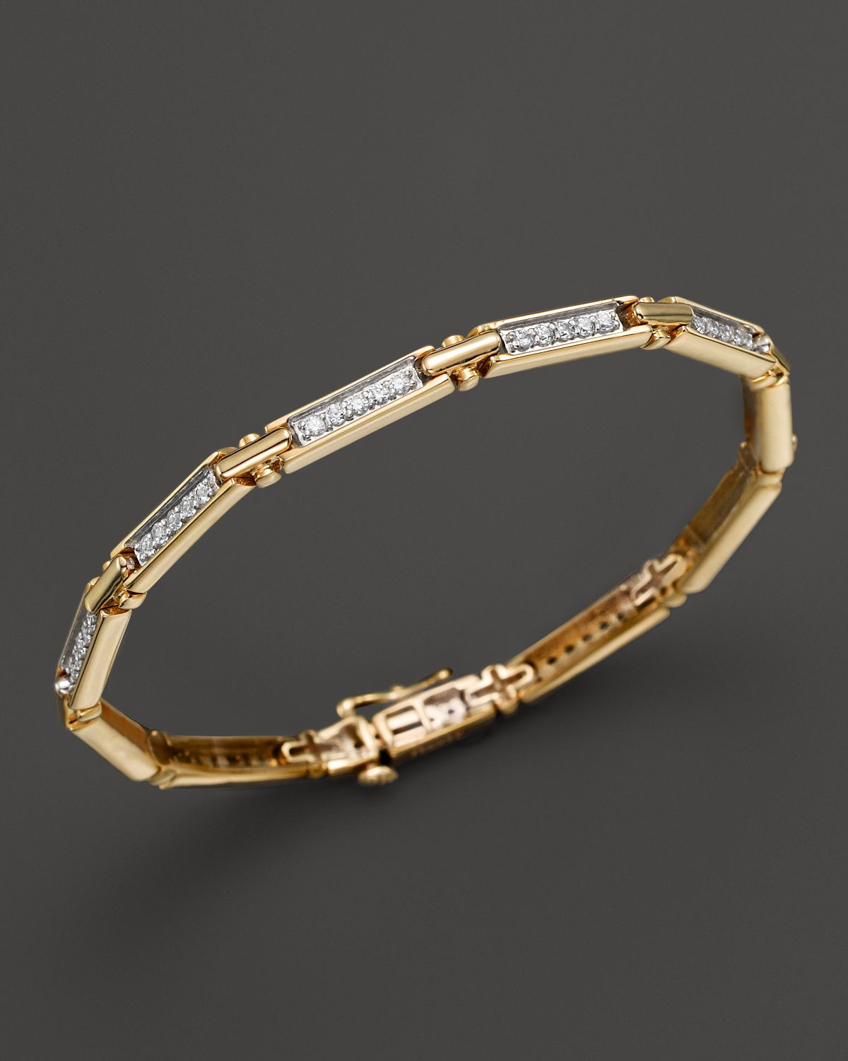 Diamond Rectangular Link Bracelet In 14 K Yellow Gold, 1 Ct. T.W.   100 Percents Exclusive by Bloomingdale's
