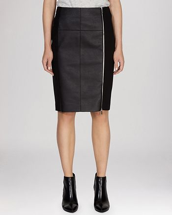 KAREN MILLEN - Skirt - Textured Jersey & Faux Leather