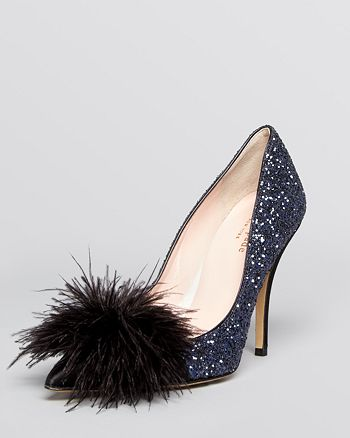 kate spade new york - Pointed Toe Evening Pumps - Lilo Glitter Feather High-Heel