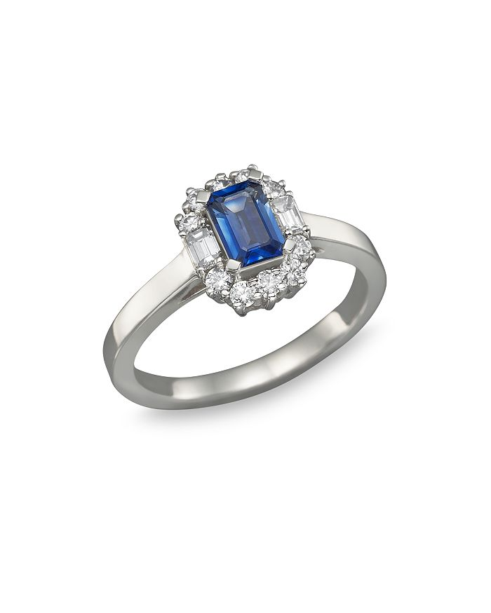 Bloomingdale's - Blue Sapphire and Diamond Ring in 14K White Gold - 100% Exclusive