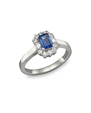Blue Sapphire and Diamond Ring in 14K White Gold - 100% Exclusive