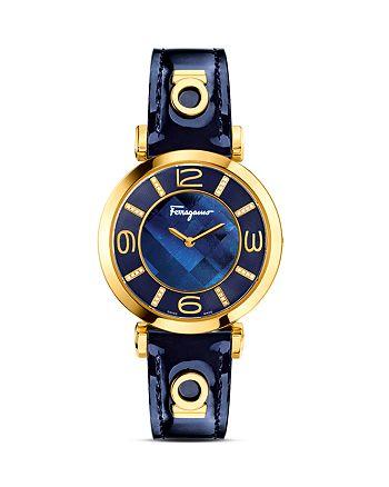 Salvatore Ferragamo - Salvatore Ferragamo Gancino Deco Gold Ion Plated Stainless Steel Watch, 39mm
