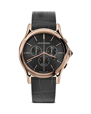 Emporio Armani Swiss Made Rose Gold Ion Plated Stainless Steel Watch, 42mm
