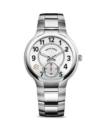 Philip Stein - Philip Stein Large Round Stainless Steel Watch, 40mm