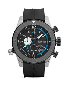 BRERA OROLOGI - Sottomarino Diver Black Ionic-Plated Stainless Steel Watch with Black Rubber Strap, 48mm