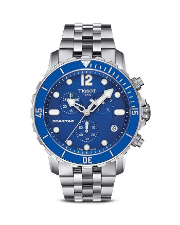 Tissot - Seastar Men's Quartz Blue Watch with Stainless Steel Bracelet, 45mm