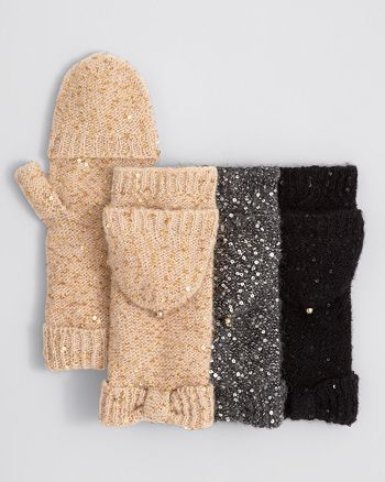 kate spade new york - All-Over Sequin Pop-Top Mittens