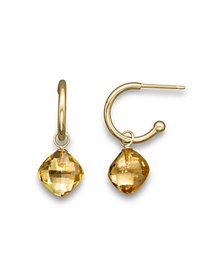 Citrine Small Hoop Earrings in 14K Yellow Gold - 100% Exclusive
