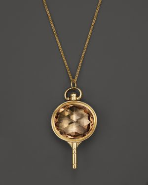 Monica Rich Kosann 18K Yellow Gold Oval Pocketwatch Key Charm Necklace with Champagne Quartz and Moo