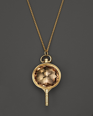 Monica Rich Kosann 18K Yellow Gold Oval Pocketwatch Key Charm Necklace with Champagne Quartz and Moonstone, 26