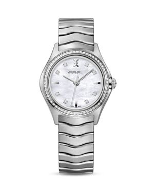 Ebel Wave Stainless Steel Watch with Diamonds, 30mm