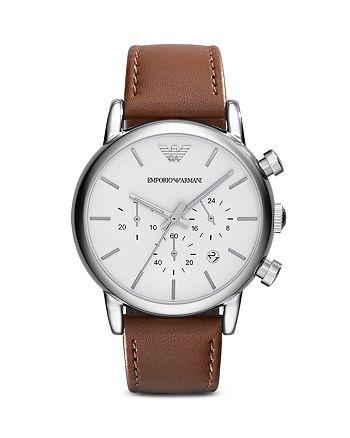 Emporio Armani - Quartz Chronograph Brown Leather Watch, 41 mm