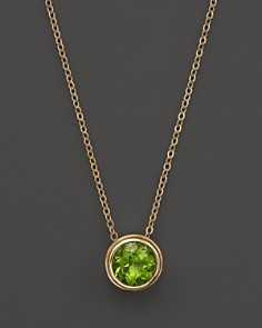 Peridot necklaces bloomingdales peridot bezel set pendant necklace in 14k yellow gold 17 100 exclusive aloadofball Gallery