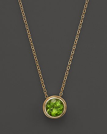 "Bloomingdale's - Peridot Bezel Set Pendant Necklace in 14K Yellow Gold, 17"" - 100% Exclusive"