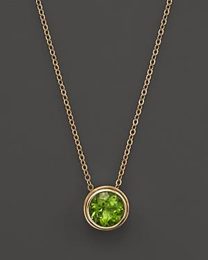 Peridot Bezel Set Pendant Necklace in 14K Yellow Gold, 17 - 100% Exclusive