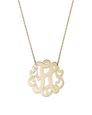 JANE BASCH 14K Yellow Gold Swirly Initial Pendant Necklace, 16 in H