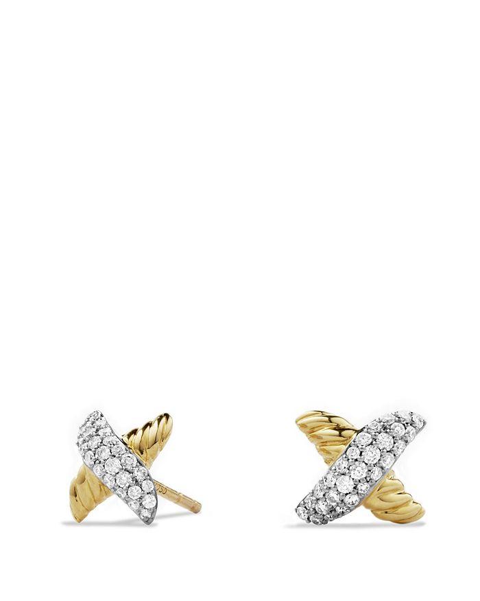 David Yurman - X Earrings with Diamonds in Gold