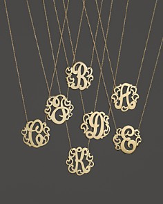 "Jane Basch - Jane Basch 14K Yellow Gold Swirly Initial Pendant Necklace, 16"""